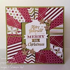 Merry Little Christmas Sunburst--Paper: Old Olive and Whisper White cardstock; Season of Style designer series paper; Champagne Glimmer paper Ink: Versamark Stamps: Merry Little Christmas Tools/Accessories: Gold Stampin' Emboss Powder, Cherry Cobbler Stampin' Emboss Powder, Heat Tool, Big Shot, Chalk Talk framelits, Squares Collection framelits, Stampin' Trimmer, Merry Minis punch pack Embellishments/Adhesives: Stampin' Dimensionals