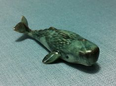 Miniature Ceramic Sperm Whale Fish Animal Cute Little Tiny Small Grey Figurine Statue Decoration Hand Painted Collectible