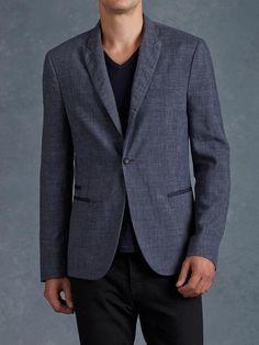 One button peak lapel jetted pocket blazer