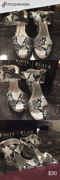 White House Black Market black and white sandals WHBM strappy wedge sandals size 8. Excellent condition only worn a couple time. Only scuffs are on the soles.  Comes with original box. White House Black Market Shoes Sandals