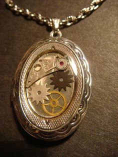 Steampunk Locket Necklace with Gears and Watch by CreepyCreationz, $25.00