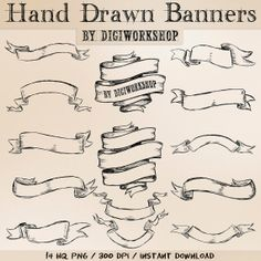Hand Drawn banners clipart  Hand Drawn Banners set от DigiWorkshop, $4.80