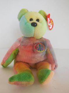 New from smoke free home MWMT Peace Beanie Baby, Beanie Babies, Ty Beanie, Tye Dye, Dinosaur Stuffed Animal, Smoke Free, Bear, Teaching, Toys