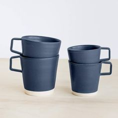 Modern Ceramic Mugs in Navy Blue from The Citizenry
