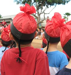 hats for Chinese New Year. --- if your troop is representing an historically Chinese country (China, Hong Kong, Taiwan, etc), make sure these are appropriate for that country. Not everything is the same in each country.