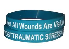 Posttraumatic Stress / Not All Wounds Are Visible - PTSD awareness silicone wristbands Mental Health Stigma, Mental Health Disorders, Stress Disorders, Bipolar Disorder, Ptsd Awareness, Teal Ribbon, Counseling Psychology, Complex Ptsd, Dissociation