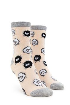 Sheep Print Crew Socks