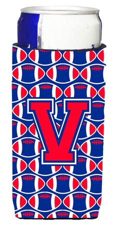 Letter V Football Crimson and Yale Blue Ultra Beverage Insulators for slim cans CJ1076-VMUK