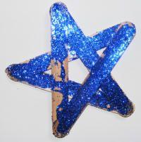 eid crafts - blue glitter star on popsicle sticks