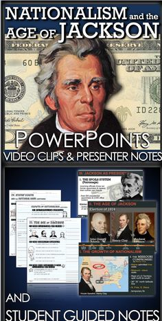 Nationalism and the Age of Jackson PowerPoint begins with the Monroe Administration to President John Tyler, with a concentration on American expansion and the era of Andrew Jackson. These PowerPoints are completely editable and include presenter notes that aid your understanding of each slide and can act as a cheat sheet for details you may forget. PowerPoints also include video clip links and optional student guided notes for students.   #HistoryLessonPlans #socialstudies Teaching American History, American History Lessons, Us History, Teaching History, 5th Grade Social Studies, Teaching Social Studies, John Tyler, History Lesson Plans, Student Guide