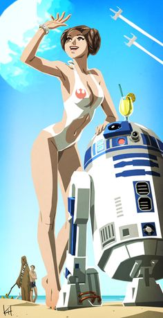 Star Wars: The Planet of Everlasting Summer - Princess Leia and R2-D2 by Kit