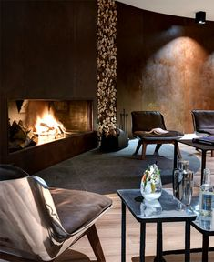 A Vacation Meant For Staying In At The Hotel Nira Montana - Design Milk Modern Fireplace, Fireplace Design, Fireplace Mantle, Loft Industrial, Hotel Decor, Hotel Interiors, Mid Century House, Rustic Design, My Dream Home