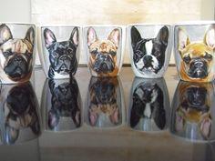 Bulldogs !!!  Hand painted customized Mugs  repin ! Hand Painted Mugs, Porcelain Mugs, Dog Portraits, Chihuahua, French Bulldog, Dog Lovers, Pets, Bulldogs, Vintage