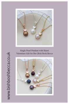 Bish Bosh Becca's pretty single solitaire pearl and heart charm necklace in sterling silver, rose gold or gold is the perfect, delicate jewellery to give as a romantic gift for your Valentine#jewellery #necklace #pendant #heart #pearl #heart #silver #rosegold #gold #valentines #mothers #delicate Valentines Gifts For Her, Valentines Jewelry, Valentine Hearts, Black Gift Boxes, Gold Paper, Delicate Jewelry, Pearl Pendant, Heart Charm, Thoughtful Gifts
