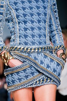 this is haute denim! #catwalkdetails {Balmain #Spring2014 Ready-to-Wear Collection} #pfw