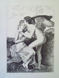 """Serigrafia eseguita con tecnica a punti tratta da """"Amore e Psiche"""" di François Gérard"""