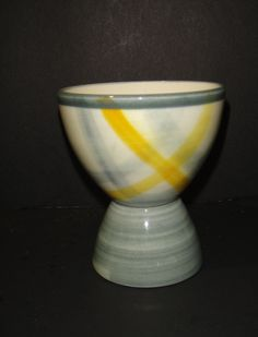 Vernon Kilns Eggcup egg cup Tweed Vintage Yellow and Gray Plaid in Pottery & Glass, Pottery & China, China & Dinnerware, Vernon Kilns | eBay