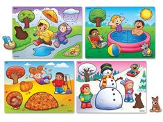 Seasons and Weather Puzzle Set at Lakeshore Learning Weather For Kids, Preschool Weather, Seasons Chart, Four Seasons, Preschool Worksheets, Preschool Activities, Preschool Kindergarten, Pre K Lesson Plans, Orquideas Cymbidium