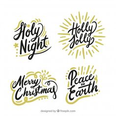Set of christmas lettering Free Vector Typography, Lettering, Christmas Cards, Merry Christmas, Xmas Crafts, Vector Free, Fonts, Arabic Calligraphy, All Art