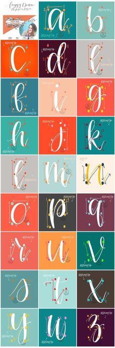 Ideas Drawing Tutorial For Beginners Hand Lettering Modern Calligraphy For 2019 Brush Lettering, Lettering Ideas, Lettering Guide, Brush Font, Brush Pen Art, Hand Lettering Styles, Chalk Lettering, Hand Drawn Lettering, Chalkboard Art