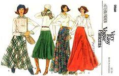 waistband belts sewing pattern | Very Easy Vogue 9880; ca. 1979; Misses' Skirt. Bias, semi-circular ...