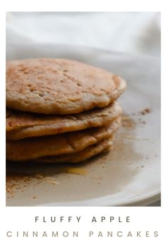 These fluffy apple cinnamon oat pancakes are so easy to make and incredibly delicious! If you love apple cinnamon but are not in the mood for chopping and peeling apples, this recipe is for you! #vegetarian #applecinnamon #oatpancakes Oat Pancakes, Fluffy Pancakes, How To Make Applesauce, Pancakes From Scratch, Apple Cinnamon, Vegetarian, Mood, Breakfast, Easy