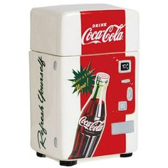 Homemade cookies can't go wrong with this fun little 8 in Coca Cola vending machine cookie jar. Find more table accessories at www.2collectcola.com/cocacola/tabletop.html