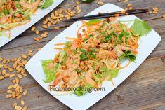 Салат с креветками и арахисовой заправкой