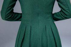 green dress wool dress midi dress pleated dress fit and