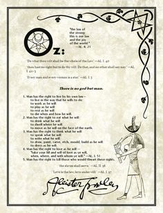 Liber Oz, the five Thelemite commandments, by Aleister Crowley.
