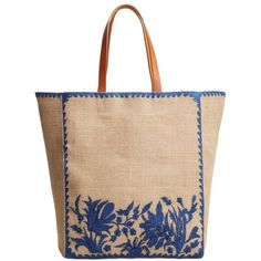 Jute Shopper Bag (€41) ❤ liked on Polyvore featuring bags, handbags, tote bags, metallic tote bag, jute shopping tote bag, shopper tote, floral purse and beige handbags