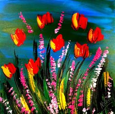 TULIPS Abstract Wall Painting,contemporary wall art ,Impasto,Palette Knife Painting on Canvas by Mark Kazav Acrylic Wall Art, Palette Knife Painting, Contemporary Wall Art, Canadian Artists, In This World, Tulips, Original Artwork, Canvas, Abstract