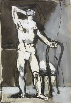Man with a Chair, 1952 Pen, ink, wash and gouache on paper x cms - Keith Vaughan Guy Drawing, Life Drawing, Camberwell College Of Arts, London Art Fair, Manchester Art, Glasgow School Of Art, Drawing Studies, Unusual Art, Portraits