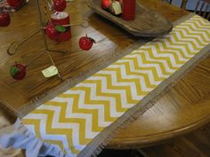 SUMMER SPECIAL    Burlap and Yellow Chevron Table by cindidavis1, $18.00