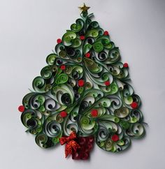 Quilled Christmas Tree 12x 12 unframed by EighthandMain on Etsy, $40.00