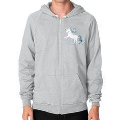 Unicorn White Zip Hoodie (on man)