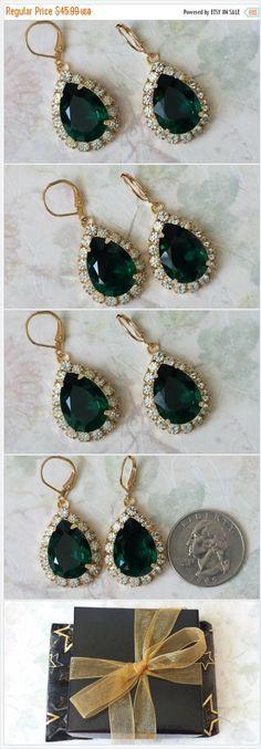 Emerald Teardrop Earrings, Anniversary Jewelry Gift, Swarovski Crystal Rhinestone Earrings, Elegant Earrings, Emerald Earrings, Gift for Her