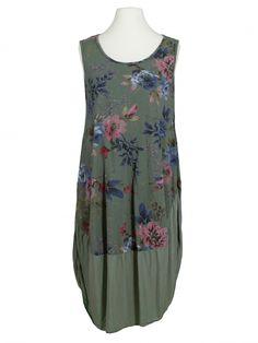 Damen Kleid Baumwolle Blüten, khaki von Diana bei www.meinkleidchen.de