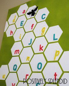 honeycomb alphabet wall art