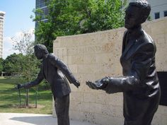 """University of Houston:  Campus Art  MICHAEL GALBRETH and JACK MASSING    """"Statue of Four Lies""""    2010    Bronze"""