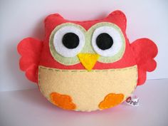 Coral owl softie made of felt Perfect stocking by Craftaholicgr