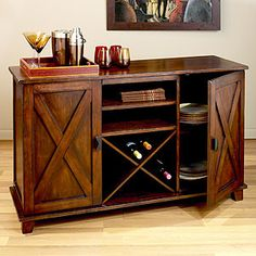 A small wine buffet by pantry door with shelves above it. Verona Buffet | Buffets and Hutches | World Market
