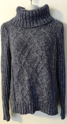 St. John's Bay Blue Gray Marled Cowl Neck Sweater size L Chunky Cable Acrylic #StJohnsBay #CowlNeck