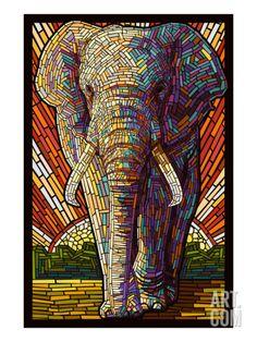 Elephant - Paper Mosaic Art Print by Lantern Press at Art.com