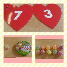 Spel met 10 snoepjes.  Hoeveel zijn er verdwenen? Verliefde harten.