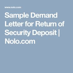 Free Printable Demand For Return Of Security Deposit Letter Pdf