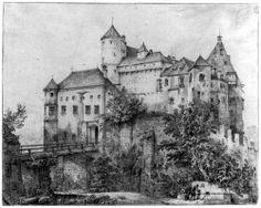 Quaglio, Domenico: Burghausen, Burg mit Abschnittsgraben und Brücke von Norden aus