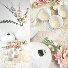Il est vraiment là le printemps! #ceramics #porcelain #handmade #handcrafted #gold #dentelle #palimpseste #flowers #primavera #naturaleza #tea #teacup #cocon #vase #branch #leaf #rose #white #creditphotomarieroura #myriamaitamarceramics