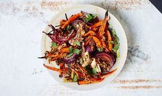 Roasted Carrots and Red Onions with Fennel and Mint