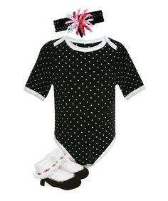 Love this Black & White Polka Dot Bodysuit Set - Infant by Stephan Baby on #zulily! #zulilyfinds